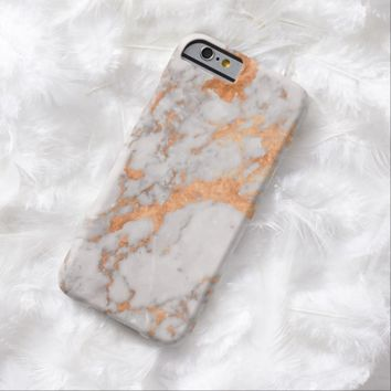 White Marble & Copper Phone Case