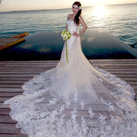 Luxurious lace bra Sweet Princess Bride Wedding Dress fashion 2015 new = 1929578564