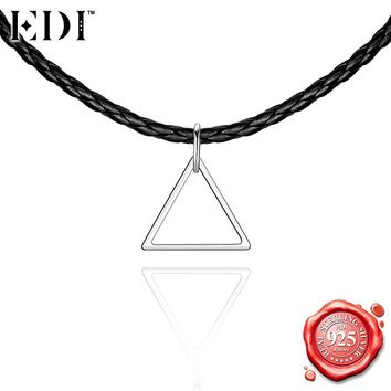 EDI Punk Silver Hyperbole Geometry Choker Necklace for Women 925 Sterling Silver Triangle Pendant Adjustable Rope Chain Necklace