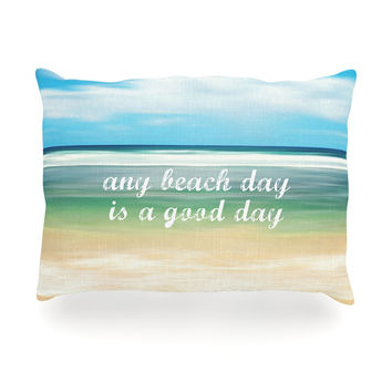 "Sylvia Cook ""Any Beach Day"" Coastal Typography Oblong Pillow"