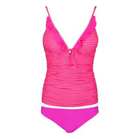 Pink stripe Sexy Bikini Two Piece Ruched Shaping Tankini Fashion Swimmingwear Lady/girl sexy Bikini Hot Swimming Suits