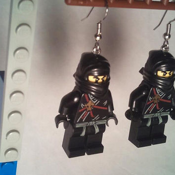 Black Ninja LEGO Minifig Earrings Retro Jewelry by DesignsOfDeLand