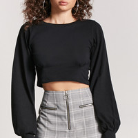 Pintucked Balloon-Sleeve Top