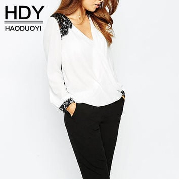 HDY Haoduoyi  Blouse Women Fashion Casual Tops Lace Patchwork Chiffon Blouse Shirt Long Sleeve Shirt Office Lady Blouse
