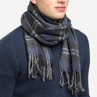 Rich Wool Scarf in Charcoal Plaid