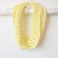 Crochet Fishnet Cowl Scarf Neck Warmer in Lemon Yellow, vegan, ready to ship.