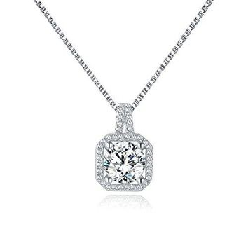 Sterling Silver 2Ct Cubic Zirconia Stone Necklace - Classic 925 Silver Square CZ Stone Necklaces for Women