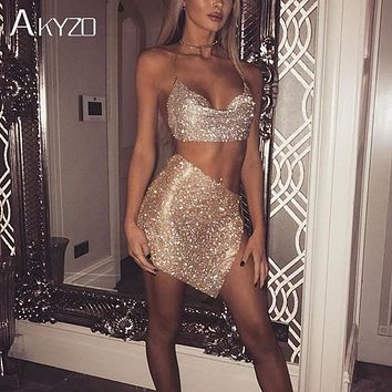 AKYZO 2017 Women Shining Rhinestone Metal Chain Dress Female Luxury Gold Silver Bling Backless Nightclub Wear 2 Pieces Dress