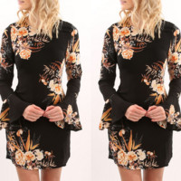 Long-Sleeved Round Neck Chiffon Printed Dress