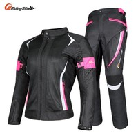 Riding Tribe Women Motorcycle Jacket & Pants Suit Jacket  Breathable Mesh Touring Motorbike Clothing Set Protective Gear