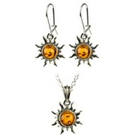 """Sterling Silve and Honey Amber Flaming Sun Earrings and Pendant Necklace Set, 18"""""""