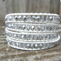 Beaded Leather Wrap Bracelet 4 Wrap with Clear Crystal and Silver Tone Czech Glass Beads on White Leather