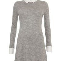 New Look Mobile | Tokyo Doll Grey 2 in 1 Shirt Collar Dress