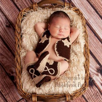 Newborn Photo Outfit Boy - Baby Cowboy Boots - Baby Boy Boots - Cowboy Vest - Baby Cowboy Outfit - Baby Cowboy Clothes  -  Cowgirl Boots