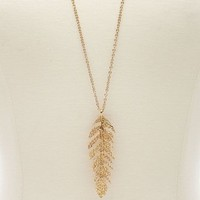 HAMMERED FEATHER PENDANT NECKLACE