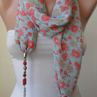 New Trend - Scarf Necklace - Jewelry Scarf - Green and Red Chiffon Fabric - with Beads and Chain - Trendy - Fashion