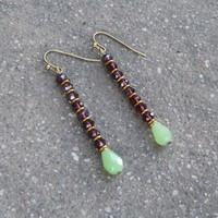 Boho, Indian Jewelry Inspired Dark Amethyst and Jade Crystal Earrings