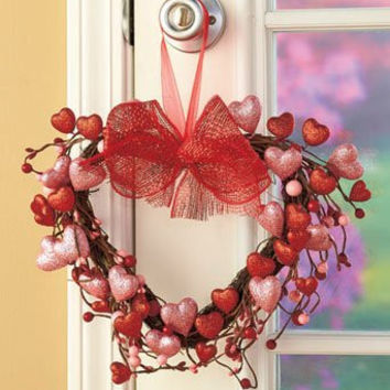 Decorative Glitter Sparkling Valentine's Day Holiday Heart Wall Hanging Decor Grapevine Twigs Hearts Picks Red Pink Berries Bow Ribbon Home Accent Window Door Accent Country Primitive Decoration Whimsical Shabby Chic V-day Gift