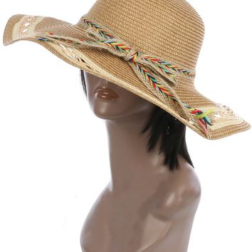 Brown Braided Color Yarn Trim Floppy Straw Hat And Cap