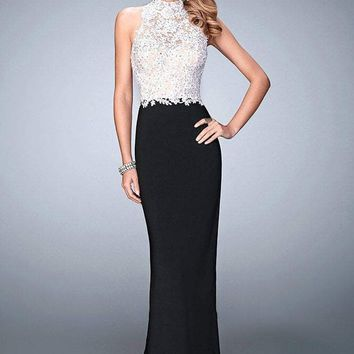 La Femme - 21837 Two-toned Lacy Evening Gown