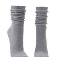 Gray Ribbed Crew Socks by Charlotte Russe