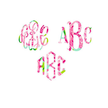 Lilly Pulitzer Monogram Decal  , Lilly Inspired Decal Monogram , One Inch Decal , Lilly car decal, Lilly Pulitzer Yeti decal Custom Decal