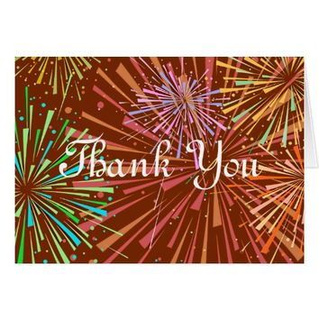 Bright Bursting Fireworks Thank You Note Card