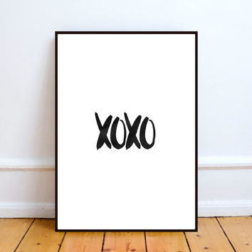 xoxo,Printable art,Typography art,Hugs and kisses,Love print,Marble,Modern art,Inspirational quote,Motivational poster,Word art