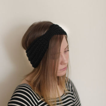Black Turban headband, vegan, black earwarmer, burgundy, grey, cruelty free, handmade, knit, crocheted, hypo allergenic, choose your color