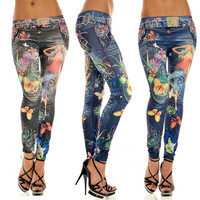 Sexy Womens Skinny Blue Jean Denim Look Leggings Stretchy Jeggings Pants  F_F