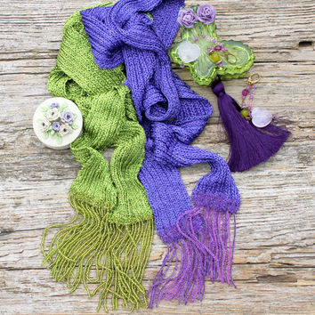 Long Scarf/ Knitted Scarf/ Summer Scarf/ Women Accessories/ Scarf With Beads/ Viscose Scarf/ Thin Scarves/ Boho Scarf