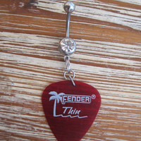 Belly Button Ring - Body Jewelry - Rhinestone Red Guitar Pick with Clear Gem Stone Belly Button Ring