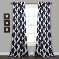 Navy Blue Ikat Pattern Window Curtain Set