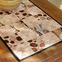 Quilted Coffee Table Runner Modern Coffee theme table topper Brown and Cream Table Runner