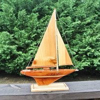 Prison Art Sail Boat Wood Model Sailboat Wooden Ship Schooner Sailing Vessel Nautical Ocean Sea Beach House Coast Home Decor Folk Art Boat