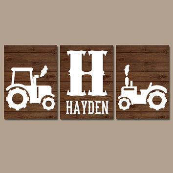 Tractor Wall Art, Canvas or Prints, Rustic Country Nursery Pictures, Big Boy Bedroom, Baby Boy Name, Tractor Decor, Brown Faux Wood Set of 3