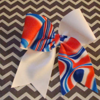 Red White and Blue Swirl & White Criss Cross Cheer by isparklethat