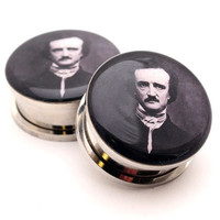 Edgar Allan Poe Picture Plugs gauges - 8g, 6g, 4g, 2g, 0g, 00g, 7/16, 1/2, 9/16, 5/8, 3/4, 7/8, 1 inch