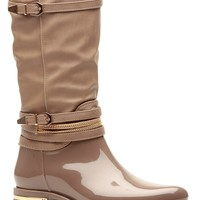 Taupe Faux Patent Buckle Accent Calf Length Rain Boots @ Cicihot Boots Catalog:women's winter boots,leather thigh high boots,black platform knee high boots,over the knee boots,Go Go boots,cowgirl boots,gladiator boots,womens dress boots,skirt boots.