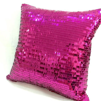 Sparkling Fuchsia Sequins Pillow Cover. 16inch Hot Pink Bling Christmas Decorative Cushion Cover. Wedding Decor. Housewarming Gift