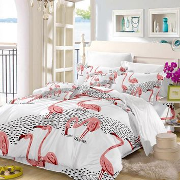 Pink Flamingo Linen Girl's Bedding Set
