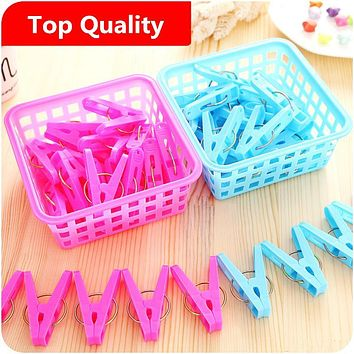 Underwear clip spring clip with anti-skid plastic shelf windproof clothes drying basket trap box cabide percha