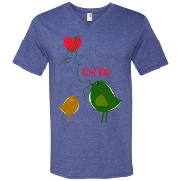 Happy Valentines day t shirt 982 Anvil Men's Printed V-Neck T-Shirt