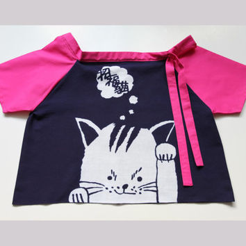 Cat fabric Girl's Top to 3 to 5 years old, girls clothing, girls dress, girls top, t-shirt, back to school dress, japanese dress, tenugui,