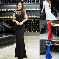 Formal Evening Gowns Mermaid Long Women of the Bride Dresses 2017 High Neck Lady of the Groom Dresses Wedding Party Prom Gown
