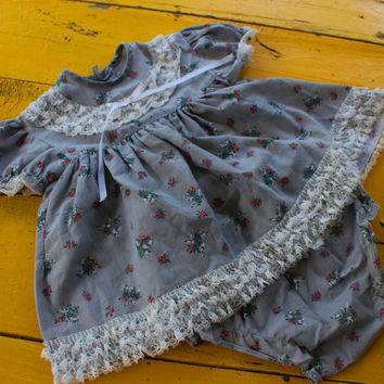 Vintage BABY GIRL Gray Flowered Dress w/ Lace Details & Matching Diaper Cover Size 12 Months, vintage baby girl dress, gray baby girl dress