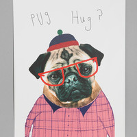 Ashley Percival For Society6 Pug Hug Art Print