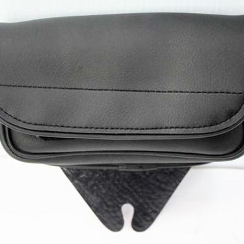 Motorcycle leather windshield bag 1 compartments pocket velcro black