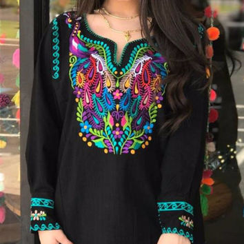 Amazing Mexican Peacock Embroidered Blouse Black