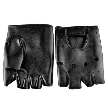 Men Faux Leather Gloves Slip-Resistant Half Finger Fingerless Gloves Hand Wrist Mittens